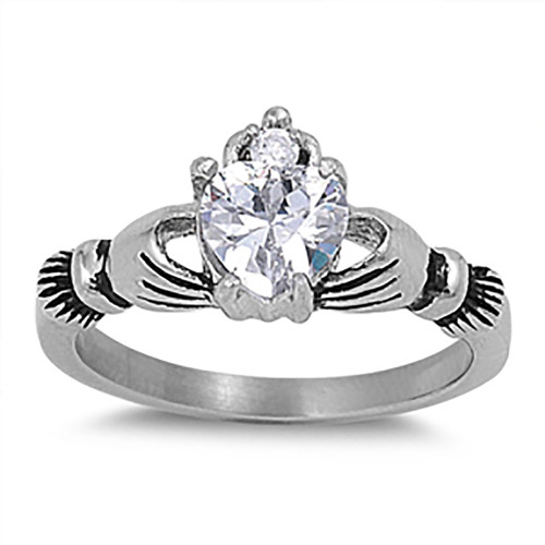 Lex & Lu Ladies Fashion Stainless Steel Claddagh Ring w/Gem heart-Lex & Lu