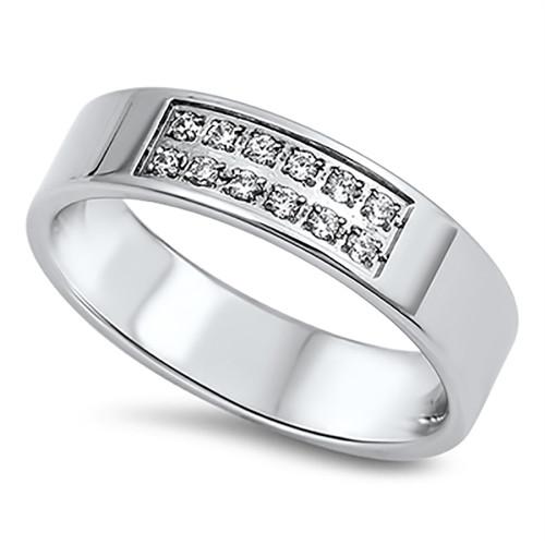 Lex & Lu Ladies Fashion Stainless Steel Ring w/2 Rows Of Gems-Lex & Lu