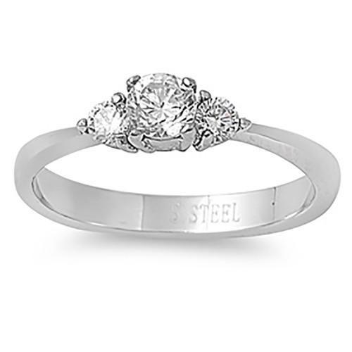 Lex & Lu Ladies Fashion Stainless Steel Ring w/3 Gems-Lex & Lu