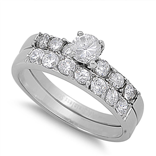 Lex & Lu Ladies Stainless Steel Wedding Set Rings Circle Gem & Round Side Gems-Lex & Lu