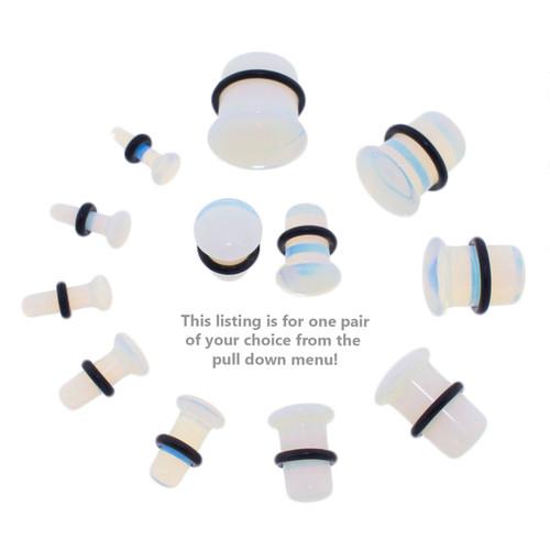 Lex & Lu Pair of Single Flare Genuine Opalite Stone Organic Ear Plugs-2-Lex & Lu
