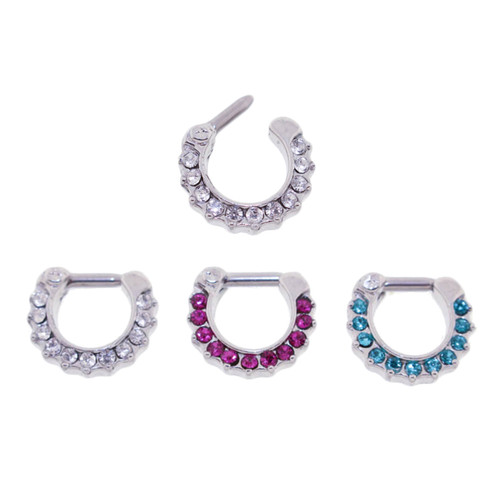 Lex & Lu Set of 3 - Steel CZ Gem Septum Clicker Nose Ring Hoops 16 or 14 Gauge SCG007-Lex & Lu