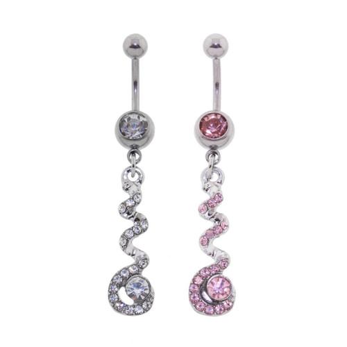 Lex & Lu Steel CZ Gem Belly Button Ring Navel Piercing Twist Dangle-Lex & Lu