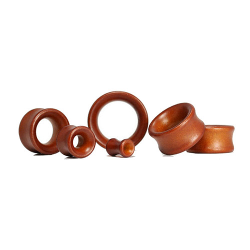 Lex & Lu Pair of Double Flare Lotus Wood Organic Ear Plug Tunnels Cherry-Lex & Lu