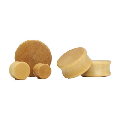 Lex & Lu Pair of Double Flare Solid Lotus Wood Organic Ear Plugs Natural-Lex & Lu