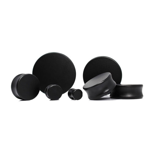 Lex & Lu Pair of Double Flare Solid Lotus Wood Organic Ear Plugs Black-Lex & Lu