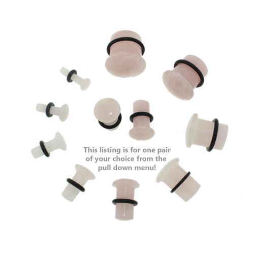 Lex & Lu Pair of Single Flare Genuine Rose Quartz Stone Organic Ear Plugs-2-Lex & Lu