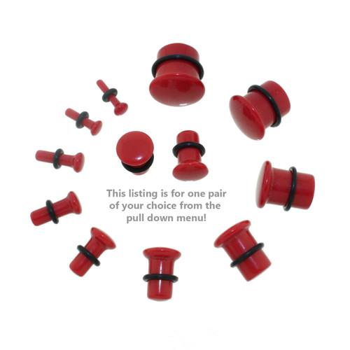 Lex & Lu Single Flare Genuine Red Carnelian Stone Organic Ear Plugs-2-Lex & Lu