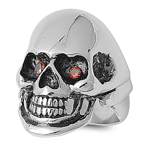 Lex & Lu Men's Fashion Stainless Steel Skull Biker Ring w/2 Red Gem Eyes-Lex & Lu