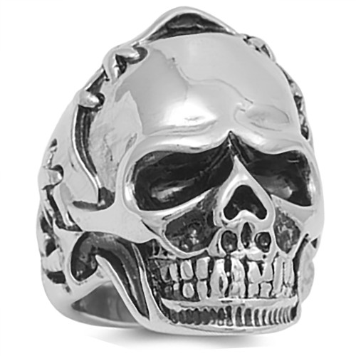 Lex & Lu Men's Fashion Stainless Steel Skull Biker Ring w/Stitched Helmet-Lex & Lu