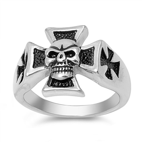 Lex & Lu Men's Fashion Stainless Steel Skull Biker Ring Iron Cross w/Skull-Lex & Lu