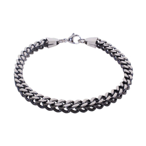 "Lex & Lu Men's Stainless Steel And Black 9"" Box Chain Bracelet-Lex & Lu"
