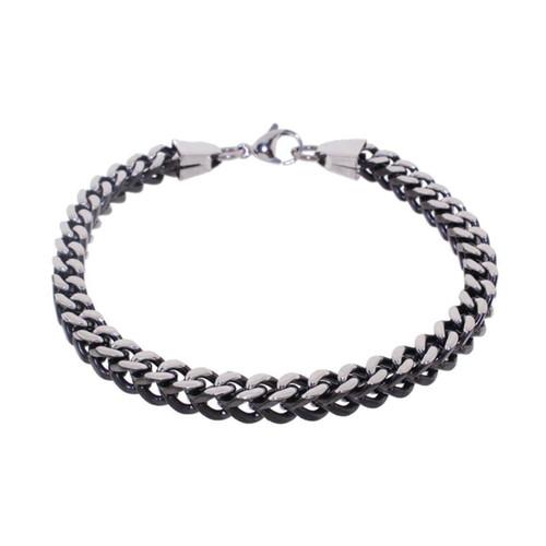 "Lex & Lu Men's Stainless Steel And Black 9"" Box Chain Bracelet-Lex & Lu"