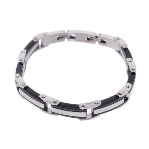 """Lex & Lu Men's Stainless Steel Link Bracelet w/Black Ion Plate 8.5""""-Lex & Lu"""