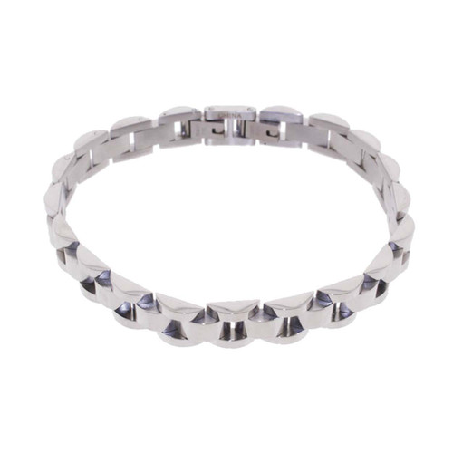 "Lex & Lu Men's Stainless Steel Link Band 8.5"" Bracelet-Lex & Lu"