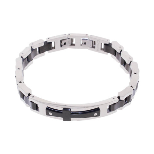 "Lex & Lu Men's Stainless Steel w/Black Plated Cross ID 8.5"" Bracelet-Lex & Lu"