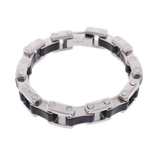 """Lex & Lu Men's Stainless Steel Link w/Rubber 9"""" Bracelet-Lex & Lu"""