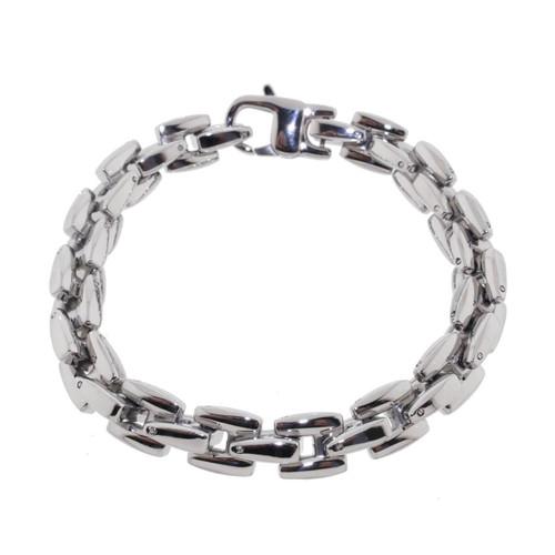 """Lex & Lu Men's Stainless Steel Woven Link 8.5"""" Bracelet-Lex & Lu"""