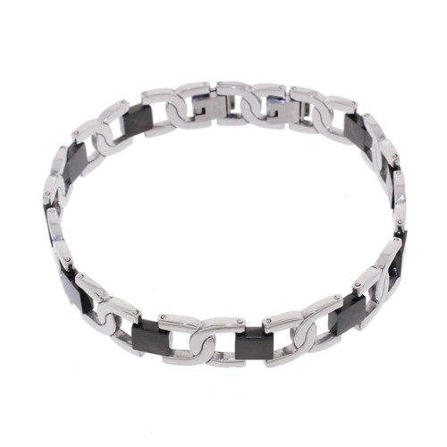 "Lex & Lu Men's Stainless Steel w/Black Stirrup 9"" Bracelet-Lex & Lu"