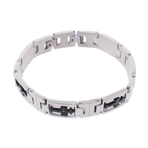 "Lex & Lu Men's Stainless Steel Black Cross w/CZ 8.5"" Bracelet-Lex & Lu"