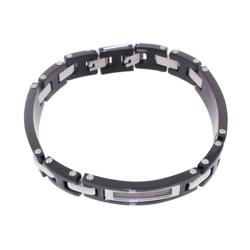 "Lex & Lu Men's Stainless Black Plate w/Cable 8.5"" Bracelet-Lex & Lu"