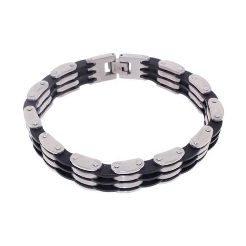 "Lex & Lu Men's Stainless Steel and Rubber 8.5"" Bracelet-Lex & Lu"