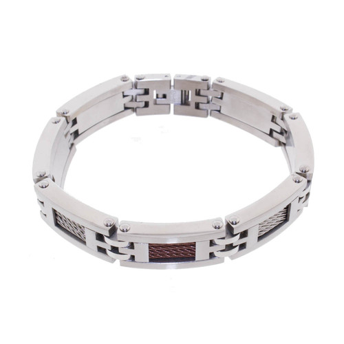 "Lex & Lu Men's Stainless Steel and Copper Cable Link 8.5"" Bracelet-Lex & Lu"