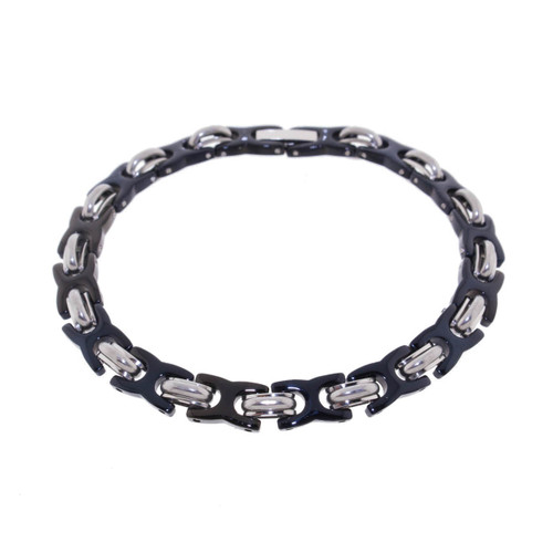 "Lex & Lu Men's Stainless Steel and Black Plated X Link 8.5"" Bracelet-Lex & Lu"