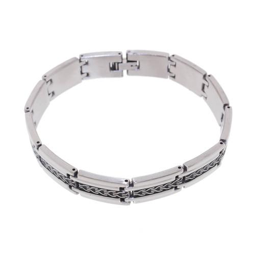 "Lex & Lu Men's Stainless Steel Link w/Tire Track 9"" Bracelet-Lex & Lu"