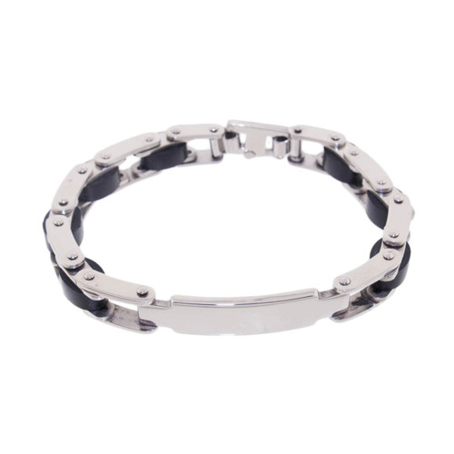 "Lex & Lu Men's Stainless Steel w/Rubber Bike Chain ID Tag 8.5"" Bracelet-Lex & Lu"