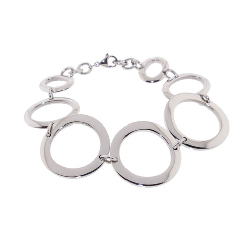"Lex & Lu Women's Stainless Steel Circle Link 8"" Bracelet-Lex & Lu"