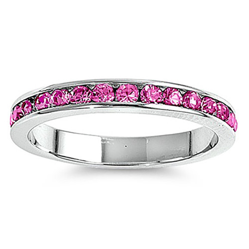 Lex & Lu 3mm Sterling Silver Rose Pink CZ Eternity Comfort Band Ring Size 5-9-Lex & Lu