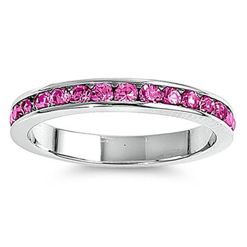Lex & Lu 3mm Sterling Silver Rose Pink CZ Eternity Comfort Band Ring Size 5-9-Lex & Lu
