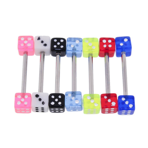 "Lex & Lu 7 Pack Steel Barbell 14 Gauge 5/8"" Long w/ UV Acrylic Dice-2-Lex & Lu"