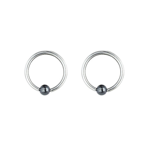 "Lex & Lu Pair of Steel Captive Bead Ring w/5mm Hematite Ball 14 Gauge  3/8"" Dia-Lex & Lu"