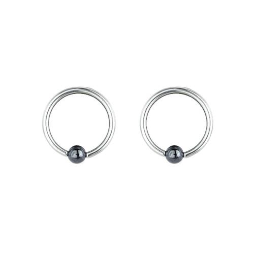 "Lex & Lu Pair of Steel Captive Bead Ring w/4mm Hematite Ball 14 Gauge 1/2"" Dia-Lex & Lu"
