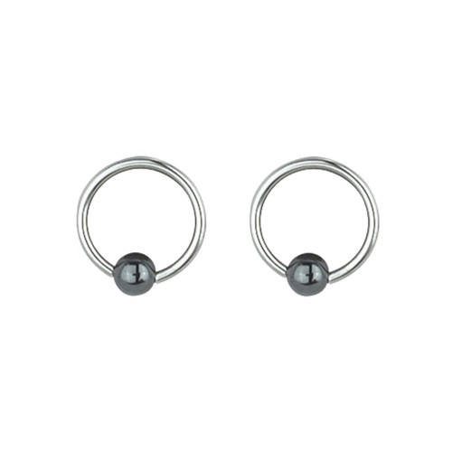 "Lex & Lu Pair of Steel Captive Bead Ring w/4mm Hematite Ball 16 Gauge 5/16"" Dia-Lex & Lu"