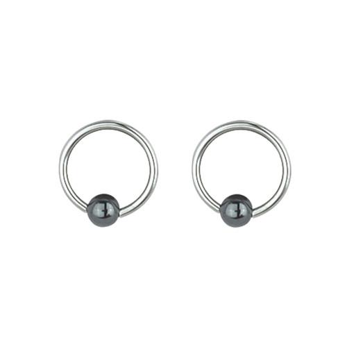 "Lex & Lu Pair of Steel Captive Bead Ring w/5mm Hematite Ball 16 Gauge 1/2"" Dia-Lex & Lu"