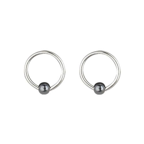 "Lex & Lu Pair of Steel Captive Bead Ring w/3mm Hematite Ball 18 Gauge 5/16"" Dia-Lex & Lu"