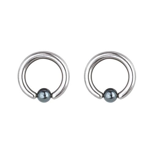"Lex & Lu Pair of Steel Captive Bead Ring w/5mm Hematite Ball 8 Gauge 1/2"" Dia-Lex & Lu"