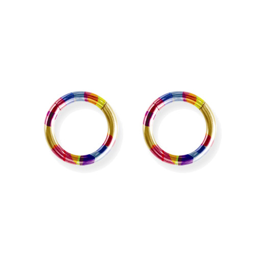 "Lex & Lu Pair of Titanium Seamless Captive 10 Gauge 7/16"" Dia Rainbow-Lex & Lu"
