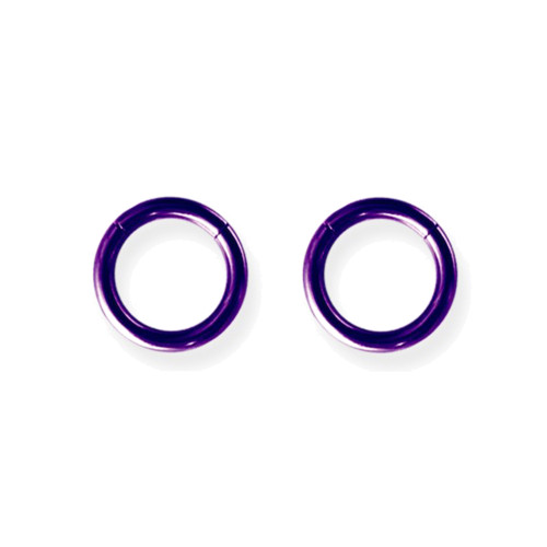 "Lex & Lu Pair of Titanium Seamless Captive 12 Gauge 3/8"" Dia Purple-Lex & Lu"