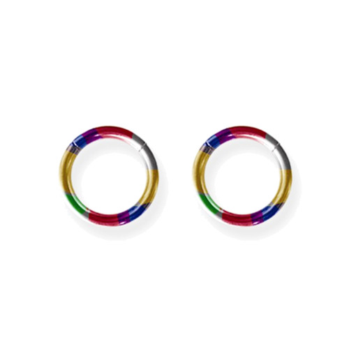 "Lex & Lu Pair of Titanium Seamless Captive 14 Gauge 3/8"" Dia Rainbow-Lex & Lu"