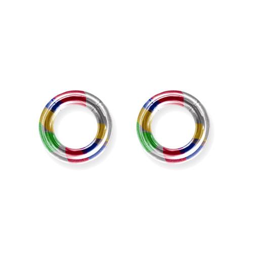 """Lex & Lu Pair of Titanium Seamless Captive 6 Gauge 1/2"""" Dia Rainbow-Lex & Lu"""