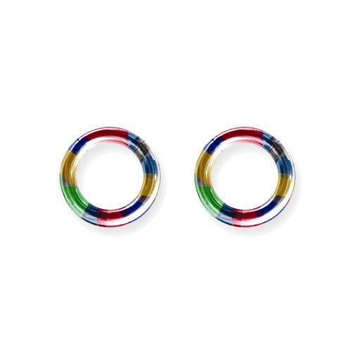 """Lex & Lu Pair of Titanium Seamless Captive 8 Gauge 1/2"""" Dia Rainbow-Lex & Lu"""