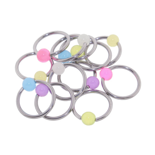 "Lex & Lu 6 Pack Pair of Steel Captives w/Glow in Dk 4mm Acrylic Balls 16 Gauge 3/8"" Dia-6-Lex & Lu"