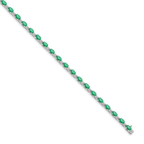 Lex & Lu 14k White Gold Diamond and Emerald Bracelet LAL526-Lex & Lu