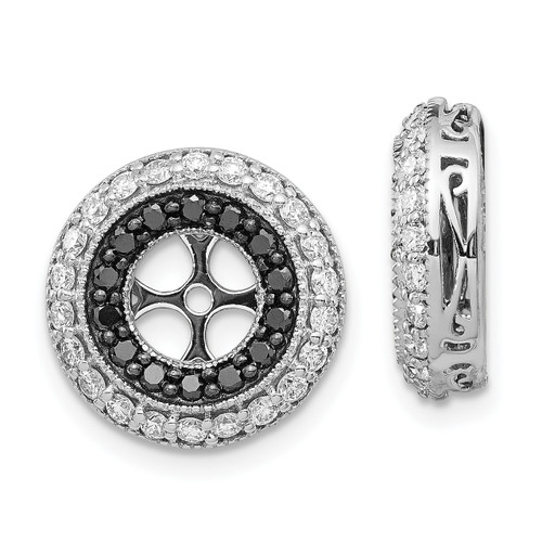 Lex & Lu 14k White Gold Black & White Diamond Earring Jackets-Lex & Lu