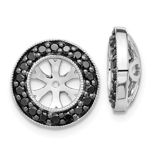 Lex & Lu 14k White Gold Black Diamond Earring Jackets LAL782-Lex & Lu