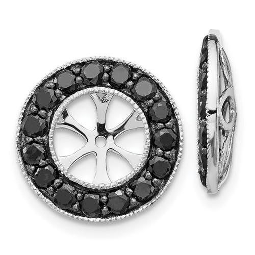 Lex & Lu 14k White Gold Black Diamond Earring Jackets LAL789-Lex & Lu